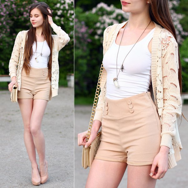 cream cardigan white tank top high waisted shorts