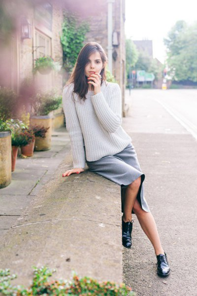 cream knit sweater grey cotton skirt oxford shoes