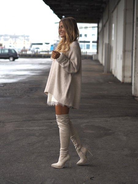 cream wool top white mini skirt