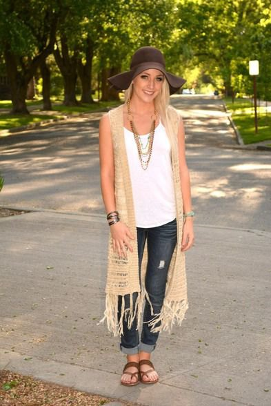 crepe long crochet fringe vest white vest top