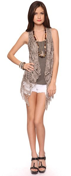 crochet vest grey tank white denim shorts