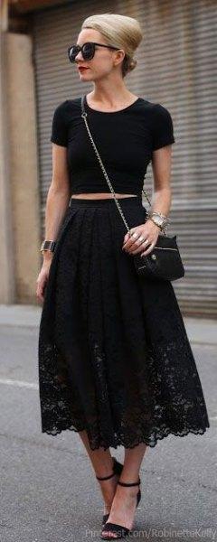 crop top maxi black dress