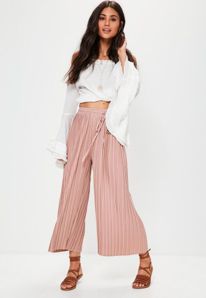 cropped white blouse pale pink culottes