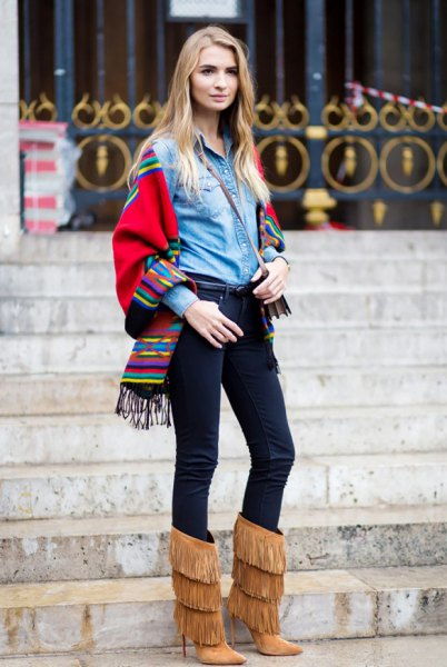 denim shirt blanket scarf fringe boots