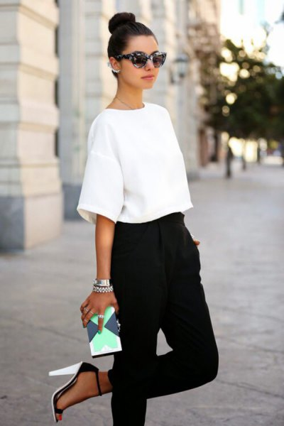drop shoulder white top high waisted black harem pants