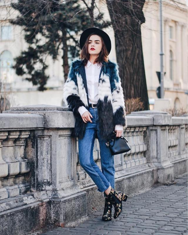 embroidered floral booties faux fur coat
