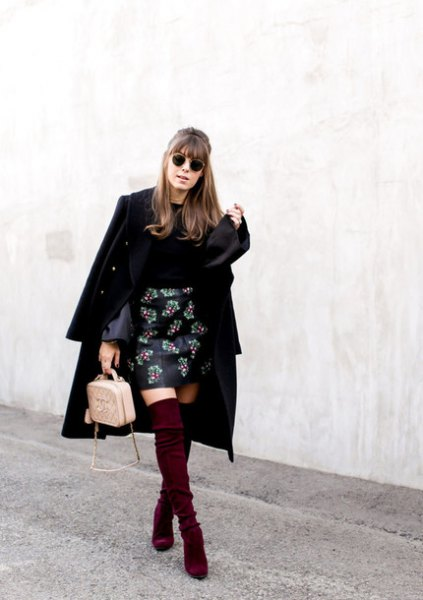 embroidered leather skirt black long wool coat
