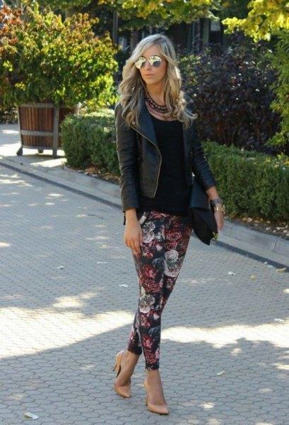 floral leggings black leather jacket