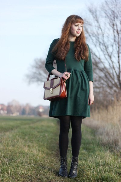 forest green long sleeve fit and flare dress