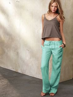 forest green vest top low waisted linen pants