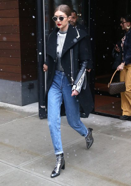 Silver Ankle Boots with Black Wool Coat \u0026 Mom Jeans