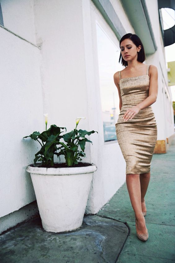 gold cocktail dress classy