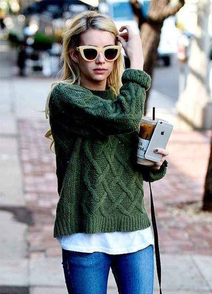 green cable knit sweater white tee jeans