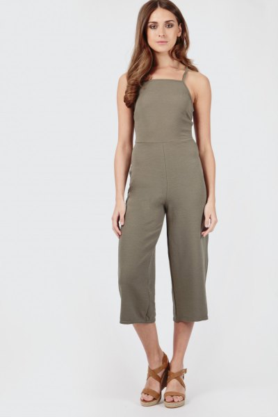 green culotte jumpsuit strappy sandals