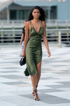 green deep v neck midi silk dress