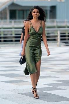 green deep v neck midi silk dress