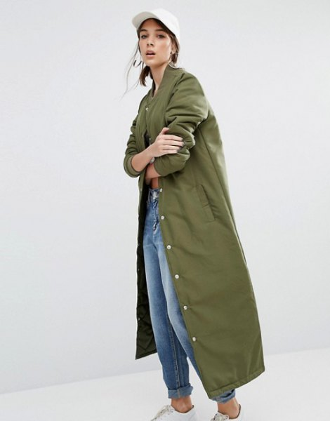 green maxi bomber jacket white t shirt mom jeans