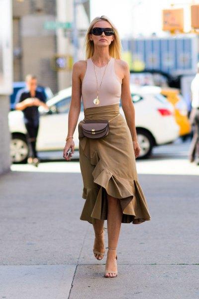 green ruffle skirt pale pink vest top