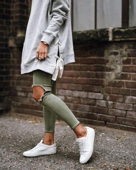 green skinny jeans hoodie