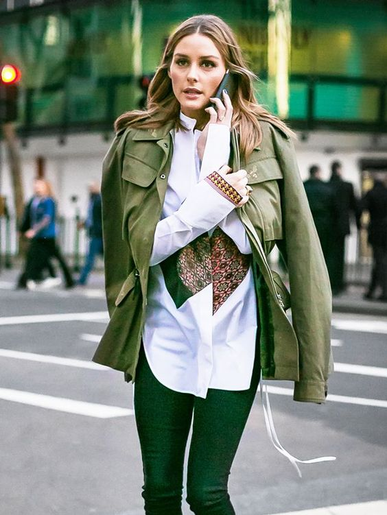 green skinny jeans military jacket