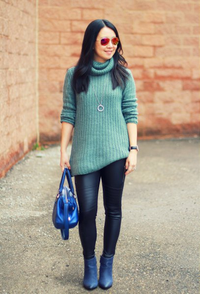 green turtleneck blue pointed toe ankle heels