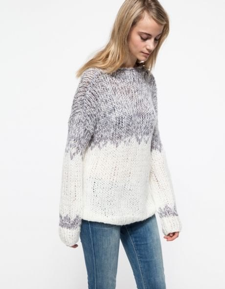 grey and white color block marled knit sweater