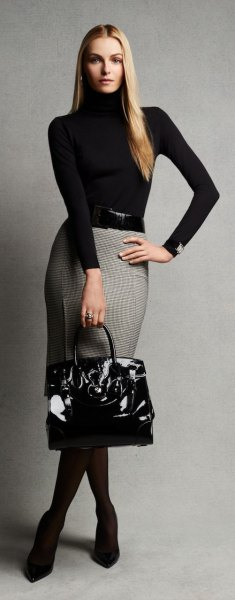 grey and white patterned pencil wool skirt