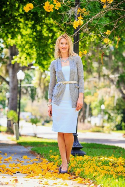 grey belted cardigan sky blue dress