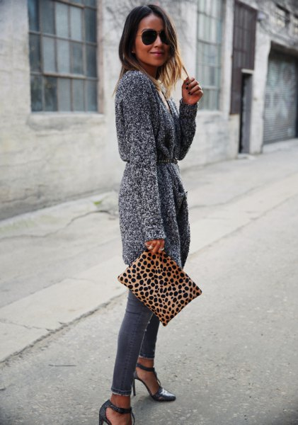 grey belted knit cardigan skinny jeans