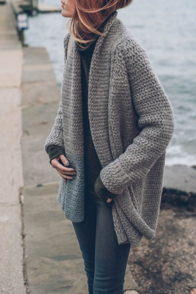 grey chunky knit sweater cardigan
