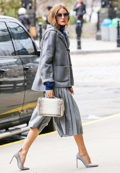 grey culottes with wool coat