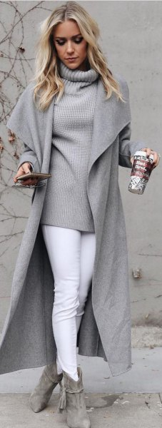 grey high neck knit sweater wool coat