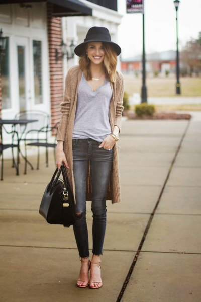 grey jeans long cardigan outfit