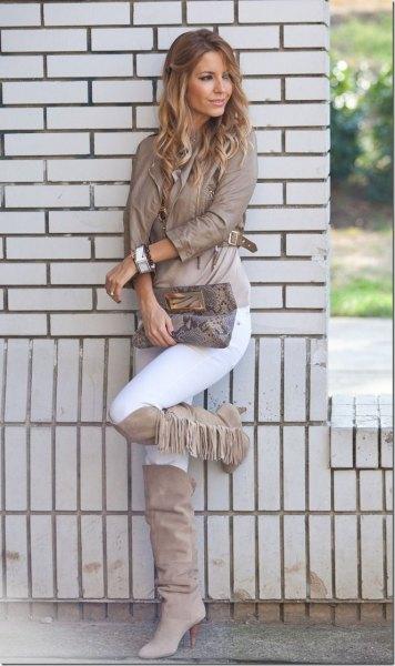 grey knee high fringe boots leather jacket
