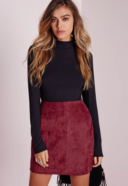 grey knit sweater red high waisted velvet skirt