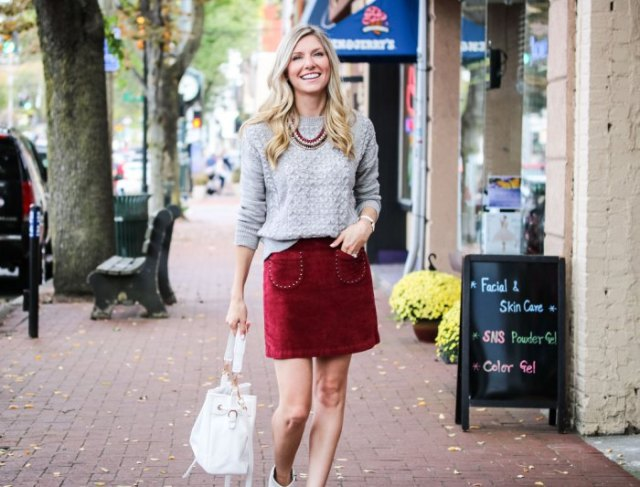 grey knit sweater red velvet skirt