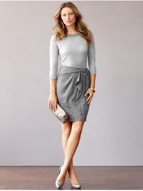 grey knotted mini wool skirt