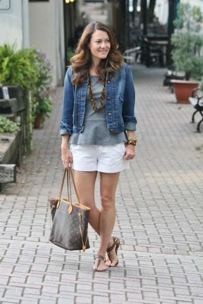 grey peplum top denim jacket white shorts