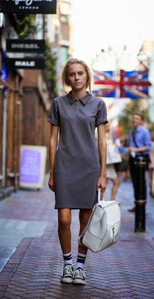 grey polo shirt dress crew socks low cut converse