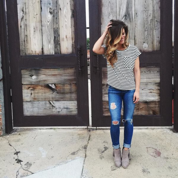 grey suede ankle boots black and white striped t shirt