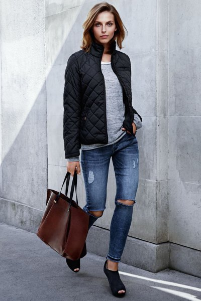 grey sweater black bomber jacket open toe heels