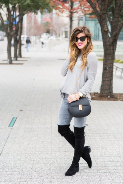 grey sweater jeans thigh high boots