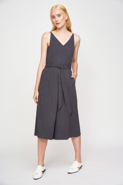 grey v neck tie waist jumpsuit