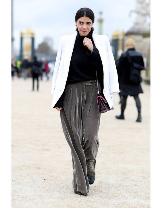 grey velvet pants white coat