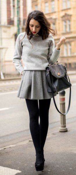 grey wool mini skirt knit sweater