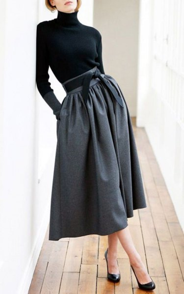 high neck black top grey midi skirt