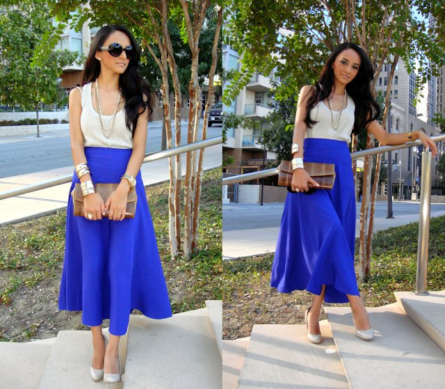 high waisted royal blue maxi skirt