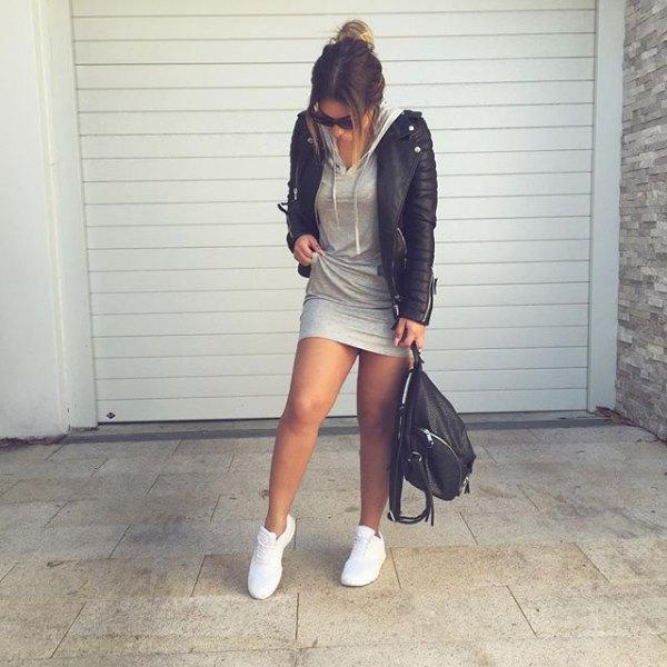 hooded dress black leather jacket
