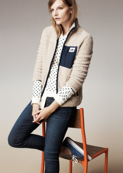 ivory jacket polka dot sweater