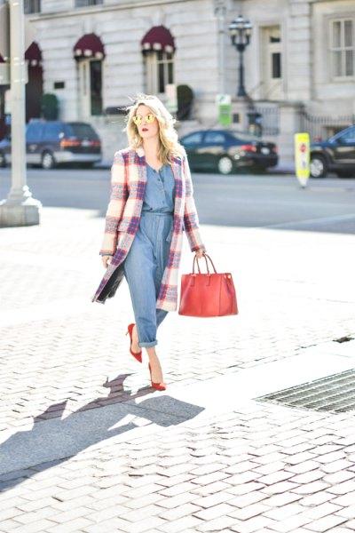 jumpsuit long plaid wool coat